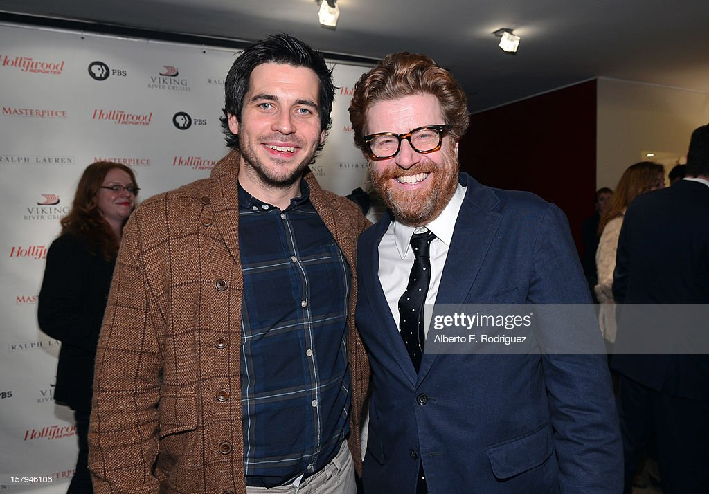 Actor Rob James-Collier and Owen Phillips, Executive Editor, The Hollywood Reporter, attend a reception prior to The Hollywood Reporter screening of PBS Masterpiece's 'Downton Abbey' Season 3 on December 7, 2012 in West Hollywood, California.