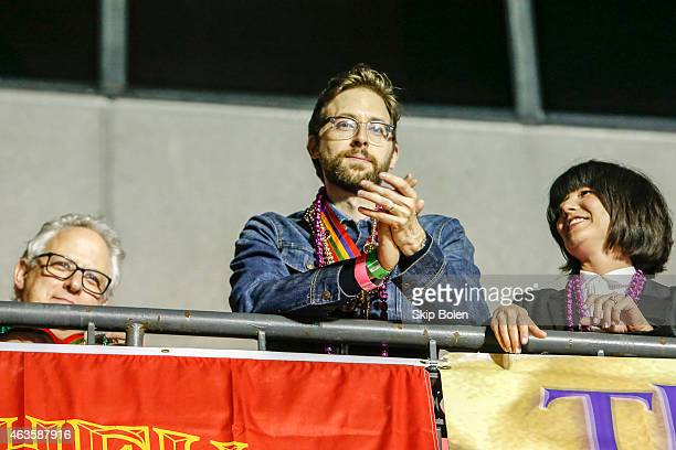 Actor Rob Kerkovich of the CBS drama NCIS NEW ORLEANS watches the Krewe of Bacchus parade from the Orpheus grand stand during Mardi Gras on February...