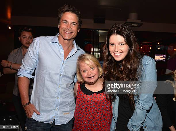 Actor Rob Lowe actress Lauren Potter and author Katherine Schwarzenegger attend the Best Buddies' Bowling For Buddies Event at Lucky Strike Lanes at...