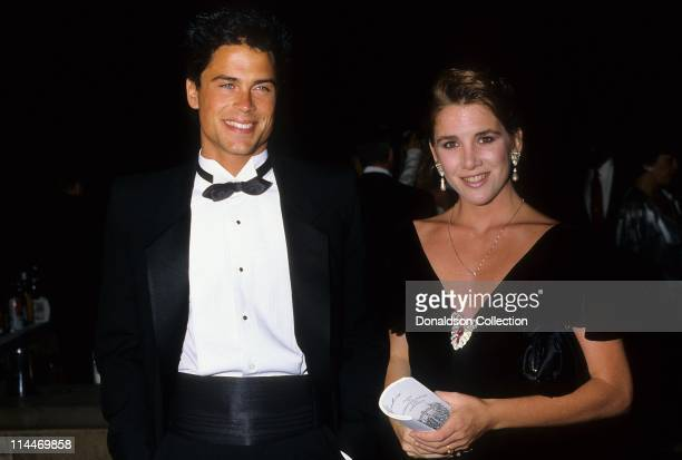 Actor Rob Lowe Actress Melissa Gilbert pose for a portrait in 1987 in Los Angeles California
