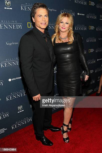Actor Rob Lowe and his wife Sheryl Berkoff attend the premiere of National Geographic Channel's 'Killing Kennedy' at Saban Theatre on November 4 2013...
