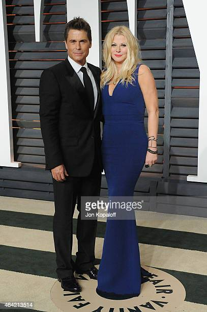 Actor Rob Lowe and make up artist Sheryl Berkoff attend the 2015 Vanity Fair Oscar Party hosted by Graydon Carter at Wallis Annenberg Center for the...