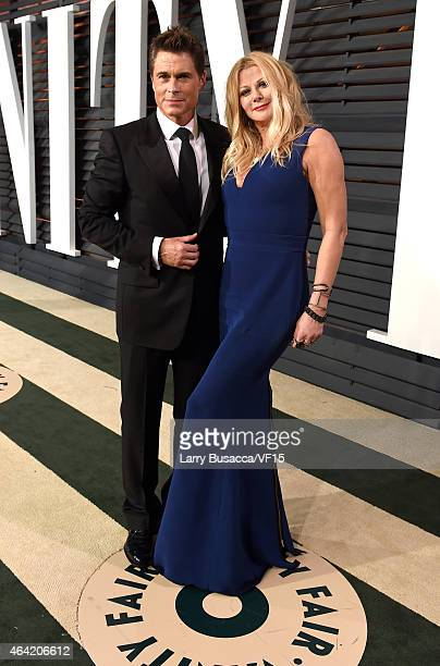Actor Rob Lowe and makeup artist Sheryl Berkoff attend the 2015 Vanity Fair Oscar Party hosted by Graydon Carter at the Wallis Annenberg Center for...