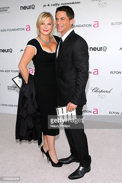 Actor Rob Lowe and Sheryl Berkoff arrives at the 18th annual Elton John AIDS Foundation Oscar Party held at Pacific Design Center on March 7 2010 in...