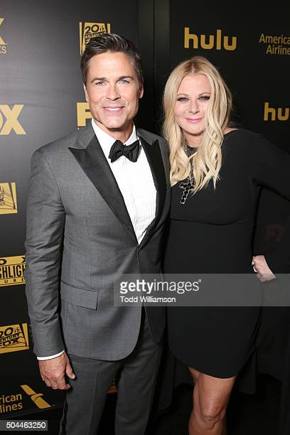 Actor Rob Lowe and Sheryl Berkoff attend FOX Golden Globe Awards Party 2016 sponsored by American Airlines at The Beverly Hilton Hotel on January 10...