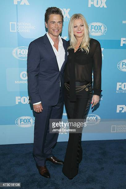 Actor Rob Lowe and Sheryl Berkoff attend the 2015 FOX programming presentation at Wollman Rink in Central Park on May 11 2015 in New York City