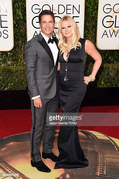 Actor Rob Lowe and Sheryl Berkoff attend the 73rd Annual Golden Globe Awards held at the Beverly Hilton Hotel on January 10 2016 in Beverly Hills...