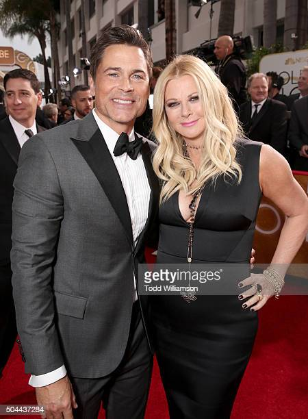 Actor Rob Lowe and Sheryl Berkoff attends the 73rd Annual Golden Globe Awards at The Beverly Hilton Hotel on January 10 2016 in Beverly Hills...