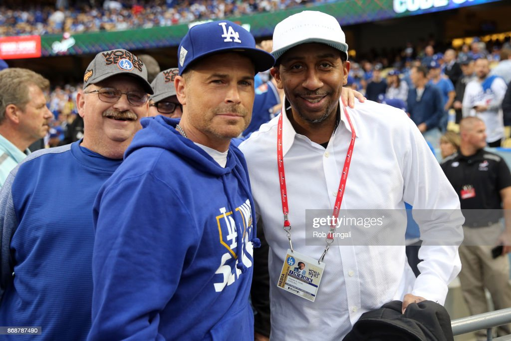 Actor Rob Lowe and Stephen A. Smith pose for a photo prior to Game 6 of the 2017 World Series between the Houston Astros and the Los Angeles Dodgers at Dodger Stadium on Tuesday, October 31, 2017 in Los Angeles, California.