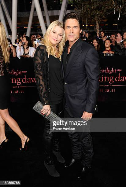 Actor Rob Lowe and wife Sheryl Berkoff arrives at Summit Entertainment's The Twilight Saga Breaking Dawn Part 1 premiere at Nokia Theatre LA Live on...