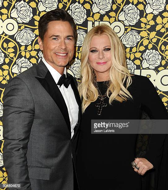 Actor Rob Lowe and wife Sheryl Berkoff attend HBO's post 2016 Golden Globe Awards party at Circa 55 Restaurant on January 10 2016 in Los Angeles...