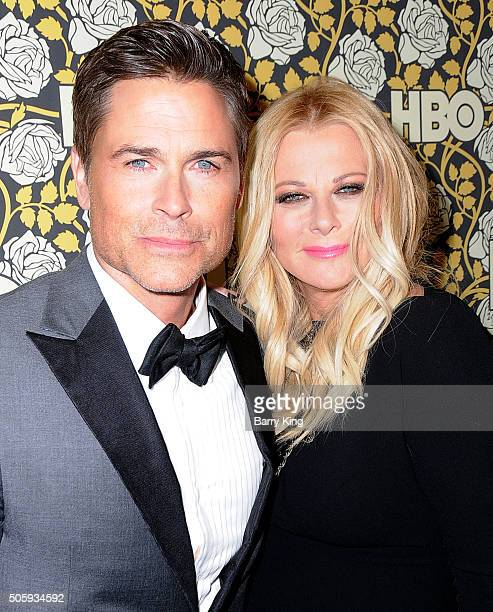 Actor Rob Lowe and wife Sheryl Berkoff attend HBO's Post Golden Globes Awards Party at Circa 55 Restaurant on January 10 2015 in Los Angeles...