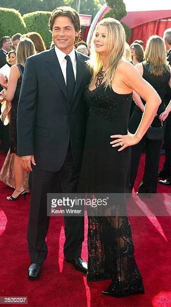 Actor Rob Lowe and wife Sheryl Berkoff attend the 55th Annual Primetime Emmy Awards at the Shrine Auditorium September 21 2003 in Los Angeles...