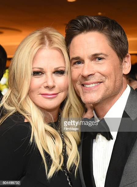 Actor Rob Lowe and wife Sheryl Berkoff attends HBO's Official Golden Globe Awards After Party at The Beverly Hilton Hotel on January 10 2016 in...
