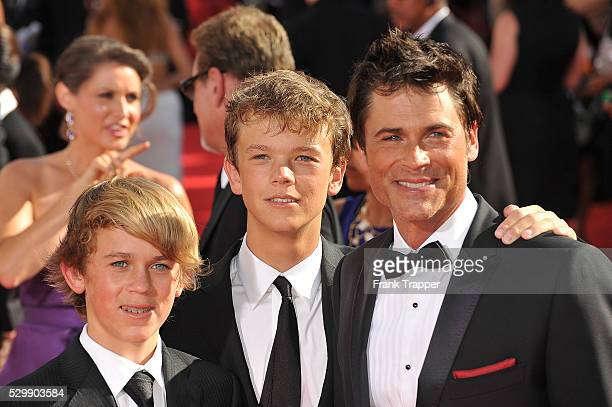Actor Rob Lowe arrives with his sons Matthew Edward Lowe and John Owen Lowe at the 61st Primetime Emmy Awards held at the Nokia Theatre