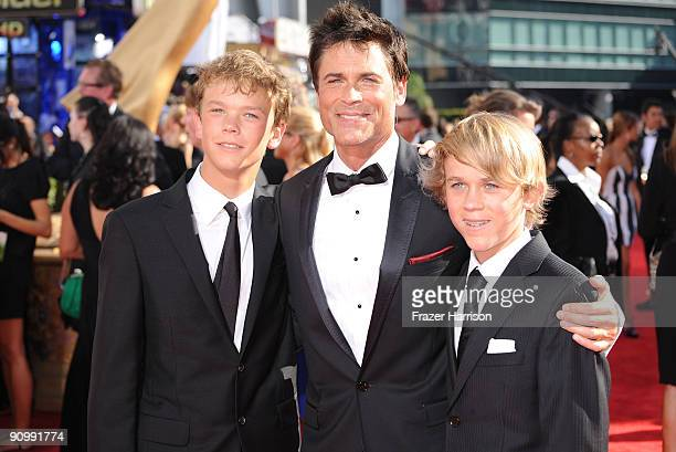 Actor Rob Lowe arrives with his sons Matthew Edward Lowe and John Owen Lowe at the 61st Primetime Emmy Awards held at the Nokia Theatre on September...