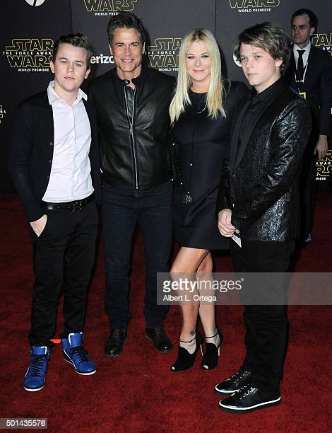 Actor Rob Lowe John Owen Lowe Sheryl Berkoff and Matthew Edward Lowe arrive for the Premiere Of Walt Disney Pictures And Lucasfilm's 'Star Wars The...