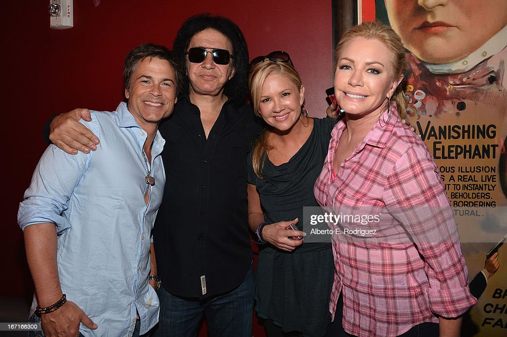 Actor Rob Lowe, musician Gene Simmons, TV host Nancy O'Dell and actress Shannon Tweed attend the Best Buddies' Bowling For Buddies Event at Lucky Strike Lanes at L.A. Live on April 21, 2013 in Los Angeles, California.
