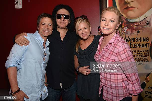 Actor Rob Lowe musician Gene Simmons TV host Nancy O'Dell and actress Shannon Tweed attend the Best Buddies' Bowling For Buddies Event at Lucky...