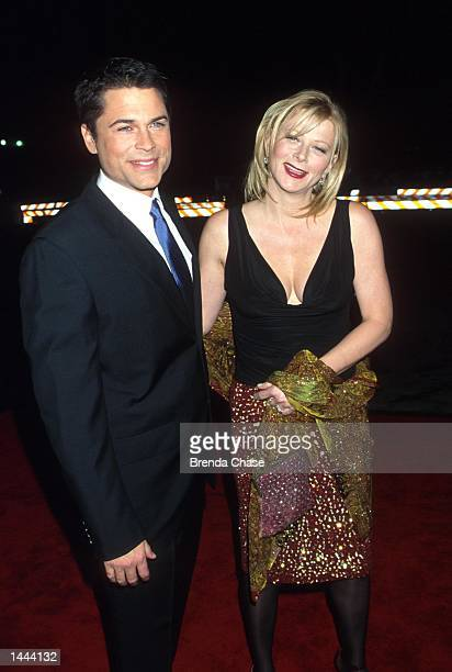 Actor Rob Lowe of NBC''s The West Wing poses with his wife Sheryl at the 26th Annual People''s Choice Awards January 9 2000 in Pasadena CA It is...