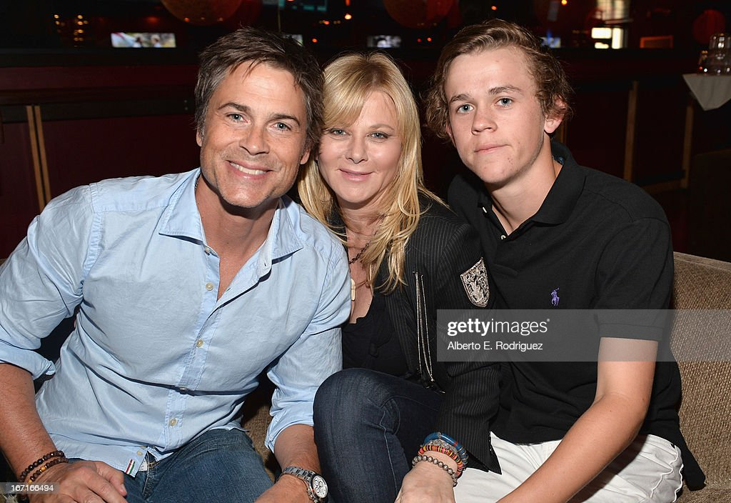 Actor Rob Lowe, Sheryl Berkoff and John Owen Lowe attend the Best Buddies' Bowling For Buddies Event at Lucky Strike Lanes at L.A. Live on April 21, 2013 in Los Angeles, California.