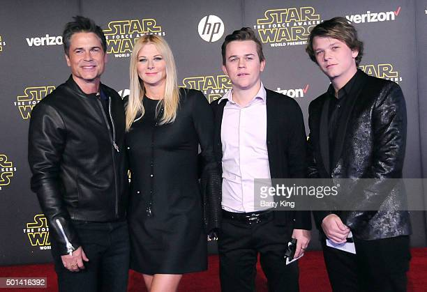 Actor Rob Lowe Sheryl Berkoff John Owen Lowe and Matthew Edward Lowe attend the Premiere of Walt Disney Pictures and Lucasfilm's 'Star Wars The Force...