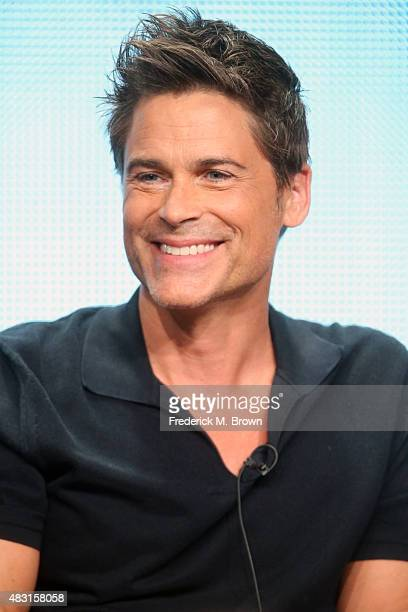 Actor Rob Lowe speaks onstage during 'The Grinder' panel discussion at the FOX portion of the 2015 Summer TCA Tour at The Beverly Hilton Hotel on...