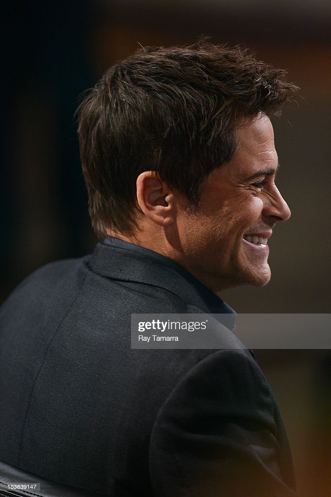 Actor Rob Lowe tapes a segment at the 'Good Morning America' at the ABC Times Square Studios on October 9, 2012 in New York City.