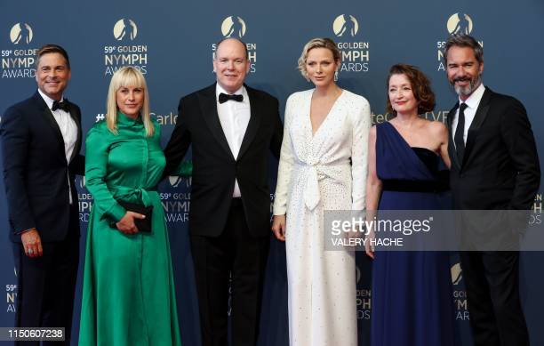 US actor Rob Lowe US actress Patricia Arquette Albert II of Monaco his wife Charlene of Monaco British actress Lesley Manville and USCanadian actor...