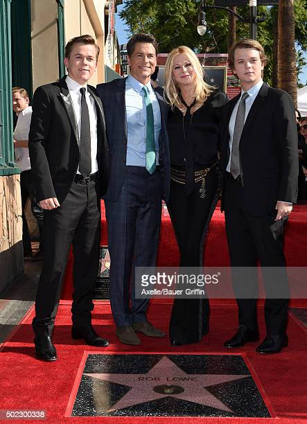 Actor Rob Lowe wife Sheryl Berkoff sons Edward Lowe and John Lowe attend the ceremony honoring Rob Lowe with a star on the Hollywood Walk of Fame on...