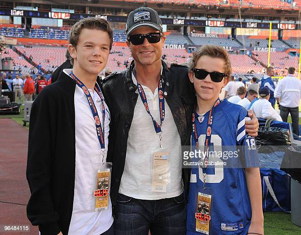 Actor Rob Lowe with sons John Owen Lowe and Edward Matthew Lowe are seen at Super Bowl XLIV at Sun Life Stadium on February 7 2010 in Miami Gardens...