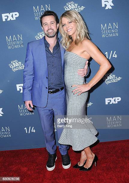 Actor Rob McElhenney and actress Kaitlin Olson attend the premiere of FXX's 'It's Always Sunny In Philadelphia' Season 12 and 'Man Seeking Woman'...