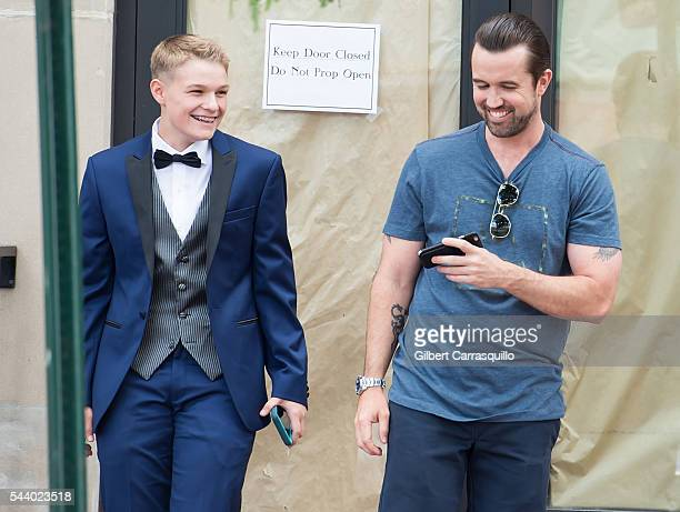 Actor Rob McElhenney is seen with Pennsylvanian teen Aniya Wolf, who was dismissed from her high school prom in May for wearing a suit that violated...