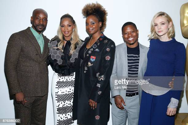 Actor Rob Morgan musician Mary J Blige director Dee Rees actor Jason Mitchell and actress Carey Mulligan attend The Academy of Motion Picture Arts...