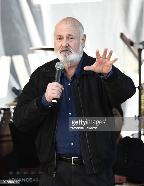Actor Rob Reiner speaks onstage at 2018 Women's March Los Angeles at Pershing Square on January 20 2018 in Los Angeles California