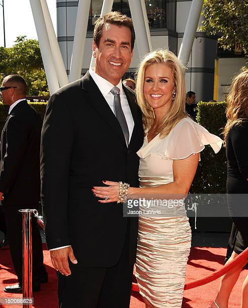 Actor Rob Riggle and wife Tiffany Riggle attend the 2012 Primetime Creative Arts Emmy Awards at Nokia Theatre LA Live on September 15 2012 in Los...