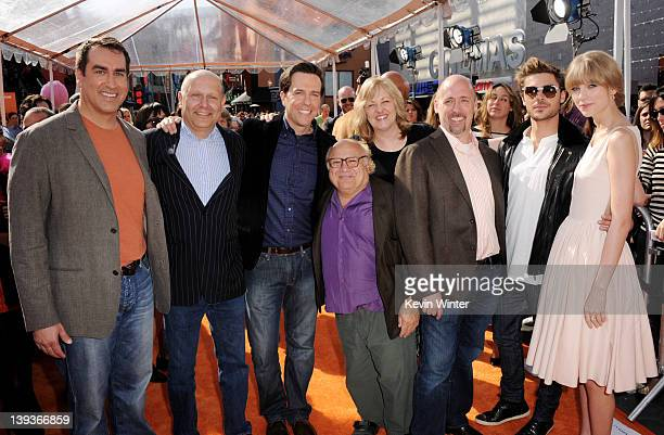 Actor Rob Riggle Producer Chris Meledandri actor Ed Helms Danny DeVito producer Janet Healy director Chris Renaud actors Zac Efron and Taylor Swift...