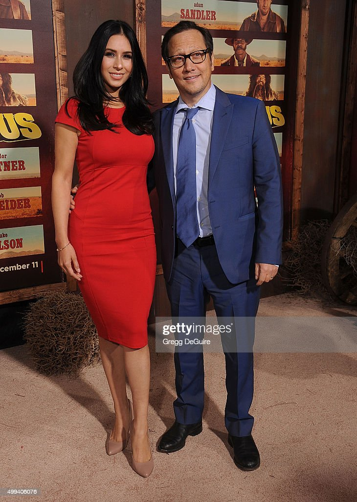 Actor Rob Schneider and wife Patricia Maya Schneider arrive at the premiere of Netflix's 'The Ridiculous 6' at AMC Universal City Walk on November 30, 2015 in Universal City, California.