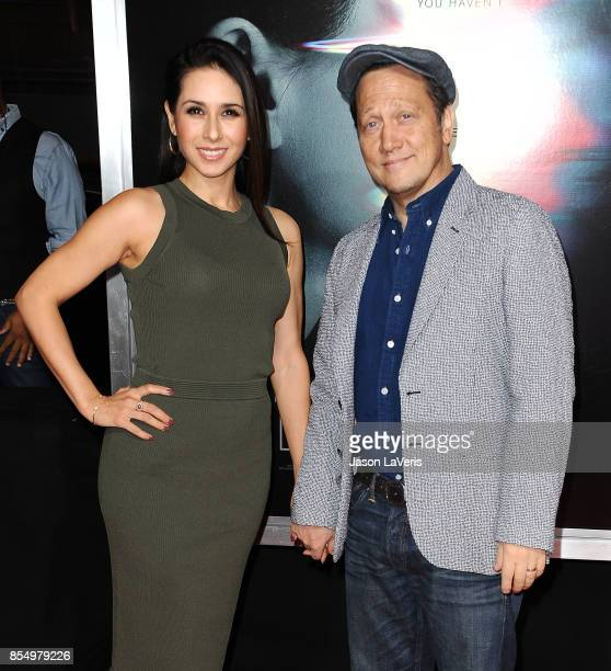 Actor Rob Schneider and wife Patricia Maya Schneider attend the premiere of 'Flatliners' at The Theatre at Ace Hotel on September 27 2017 in Los...