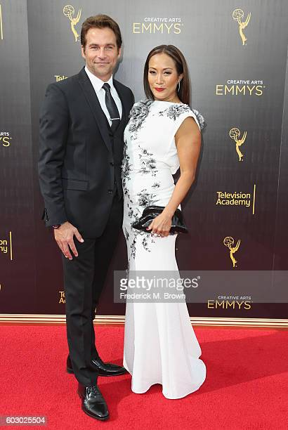 Actor Robb Derringer and TV personality Carrie Ann Inaba attend the 2016 Creative Arts Emmy Awards at Microsoft Theater on September 11 2016 in Los...
