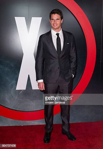 Actor Robbie Amell attends the premiere of Fox's 'The XFiles' at California Science Center on January 12 2016 in Los Angeles California