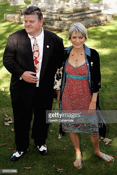 Actor Robbie Coltrane attends the wedding of musician Jools Holland and Christabel McEwen at St James's Church Cooling on August 30 2005 in Cooling...
