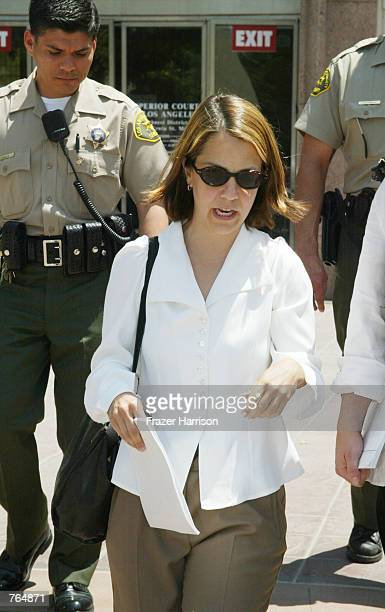 Actor Robert Blake's daughter Delinah Blake exits the Van Nuys Superior courthouse after a hearing in the case of Blake on June 18 2002 in Van Nuys...