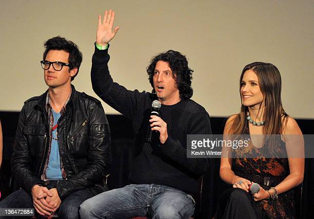 Actor Robert Buckley creator Mark Schwahn and actress Sophia Bush appear at The CW's presentation of 'An Evening with One Tree Hill' at the Arclighht...