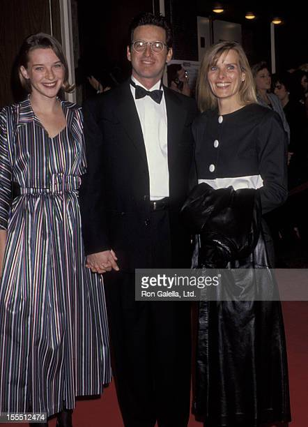 Actor Robert Carradine daughter Ever Carradine and wife Edie Mani attending 13th Annual Cable ACE Awards on January 12 1992 at The Pantages Theater...