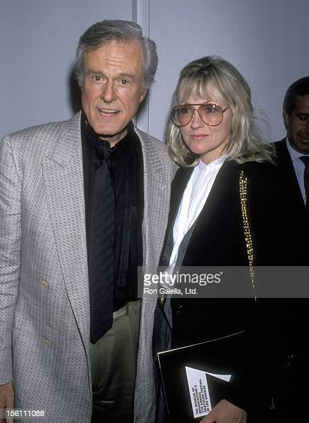 Actor Robert Culp and Candace Faulkner attend a 'Tribute to Danny Thomas and Sheldon Leonard' on March 23, 1990 at Los Angeles County Museum of Art...