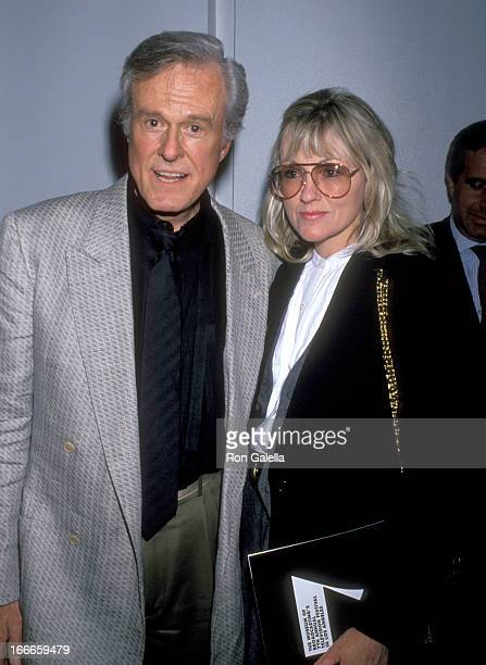 Actor Robert Culp and Candace Faulkner attend a Tribute to Danny Thomas and Sheldon Leonard on March 23 1990 at Los Angeles County Museum of Art in...