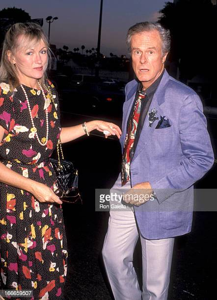 Actor Robert Culp and Candace Faulkner attend the Rumors Hollywood Opening Night Performance on July 12 1990 at James A Doolittle Theatre in...