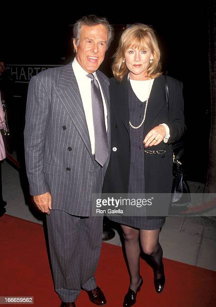 "Actor Robert Culp and Candace Faulkner attend the ""Three Wishes"" Beverly Hills Premiere on October 24, 1995 at Samuel Goldwyn Theatre in Beverly..."