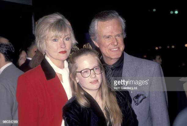 "Actor Robert Culp, Candace Faulkner, and daughter Samantha Culp attend the ""Pelican Brief"" Westwood Premiere on December 13, 1993 at Mann Bruin..."